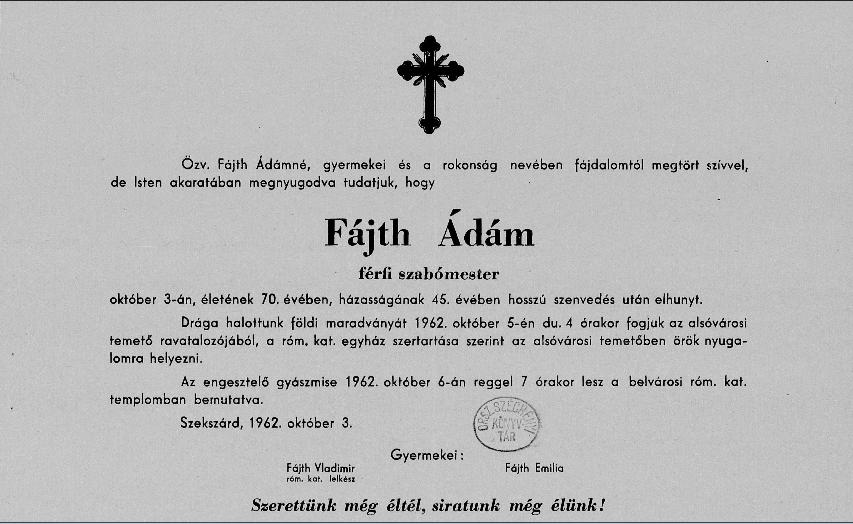Fájth Ádám gyászjelentés