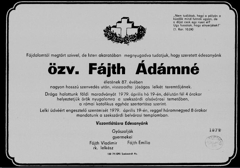 Fájth Ádámné gyászjelentés