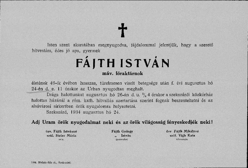 Fájth István gyászjelentés