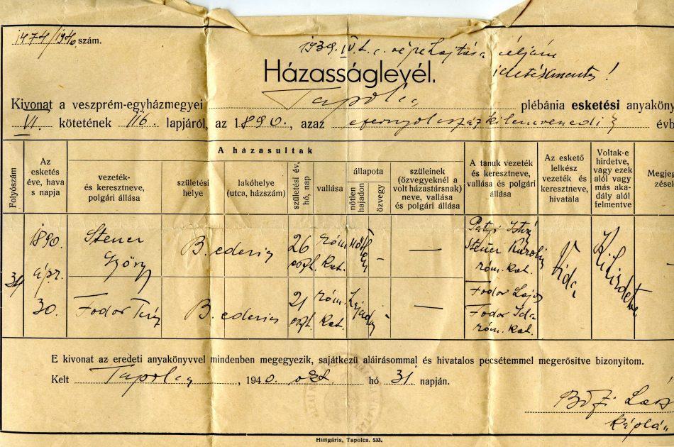 Steier György Fodor Teréz házasságlevél